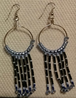 Blue and Grey Beaded Silver Hoops