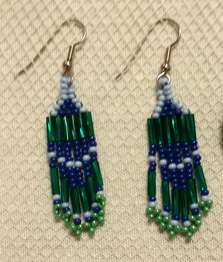 Green and Blue Beaded Earrings