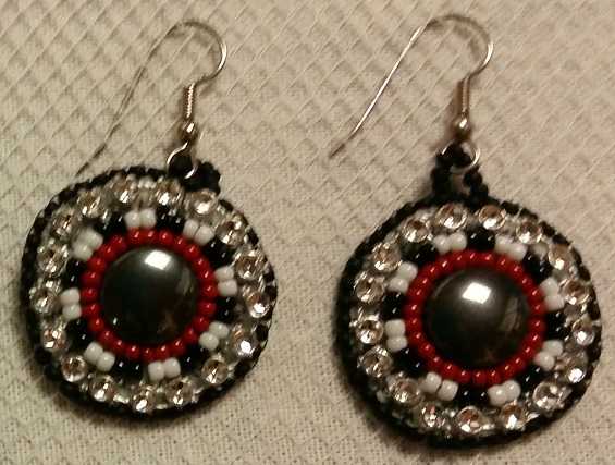 Metallic and Red Beaded Circular Earrings