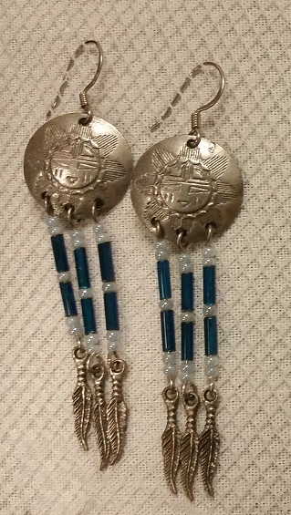 Concho Earrings with Feather Charms