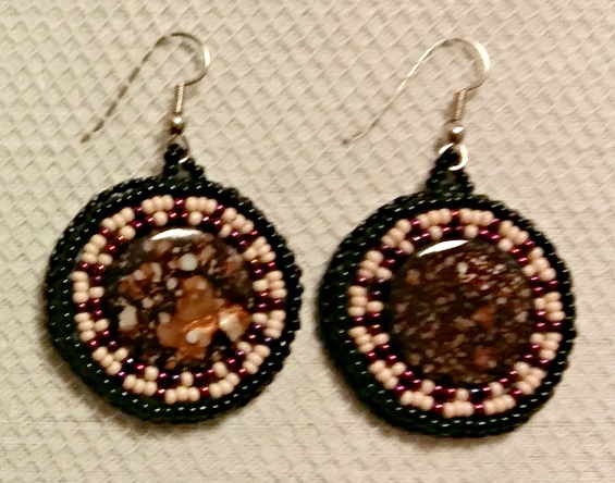 Beaded Circular Stone Earrings