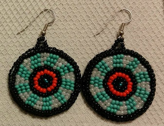 Turquoise White Orange and Black Beaded Circular Earrings