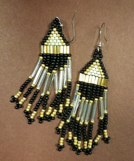 Black and Gold dangle earrings
