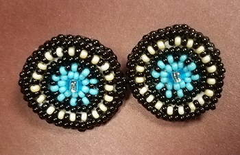 Turquoise and black circle post earrings