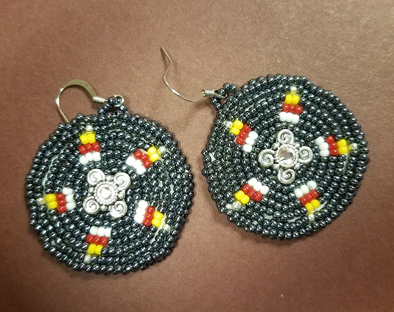 Silver beaded circle earrings